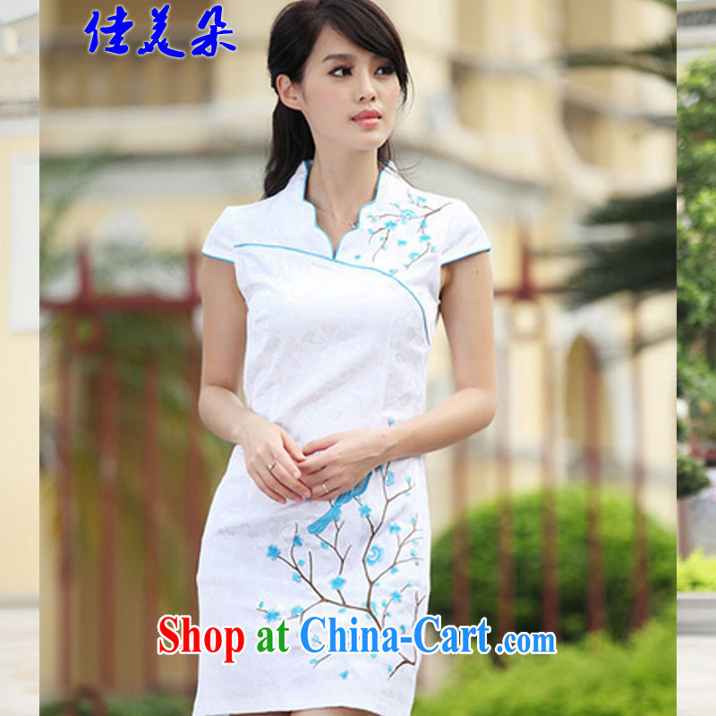 Good flower 2015 China wind embroidery summer cheongsam dress improved stylish dresses sexy dresses replica _ 6903 blue XL