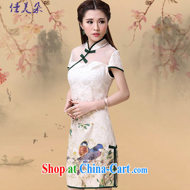 Good and flower 2015 spring and summer New China wind National wind cultivating high-end elegant dresses cheongsam dress 8952 #Map Color XXL
