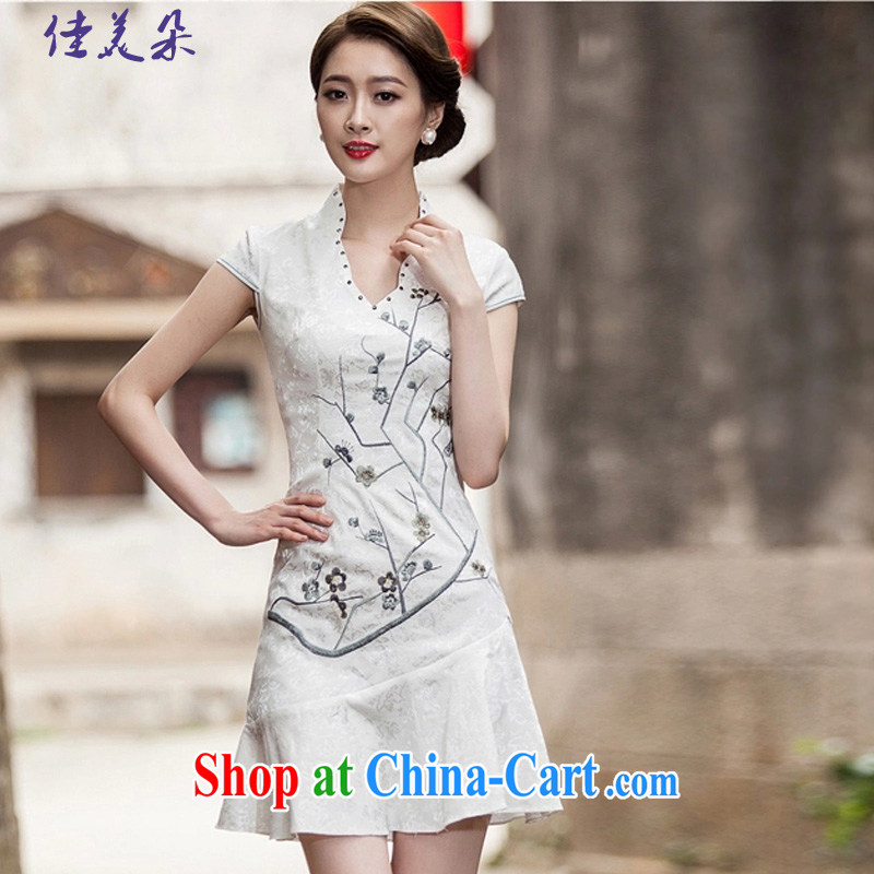 Good 2015 Flower Spring and Summer new short-sleeved V collar embroidered Phillips nails Pearl crowsfoot skirt with embroidery short cheongsam 1123 _white XL