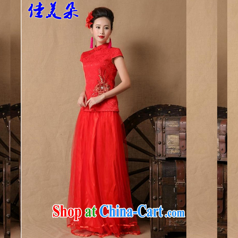 Good flower new 2015 bridal wedding ceremony cheongsam dress red long bows dress stylish 6646 _red XL