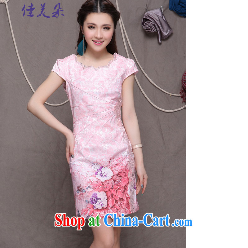 Good flower 2015 high-end Ethnic Wind stylish Chinese qipao dress retro beauty graphics thin outfit _9902 pink XL