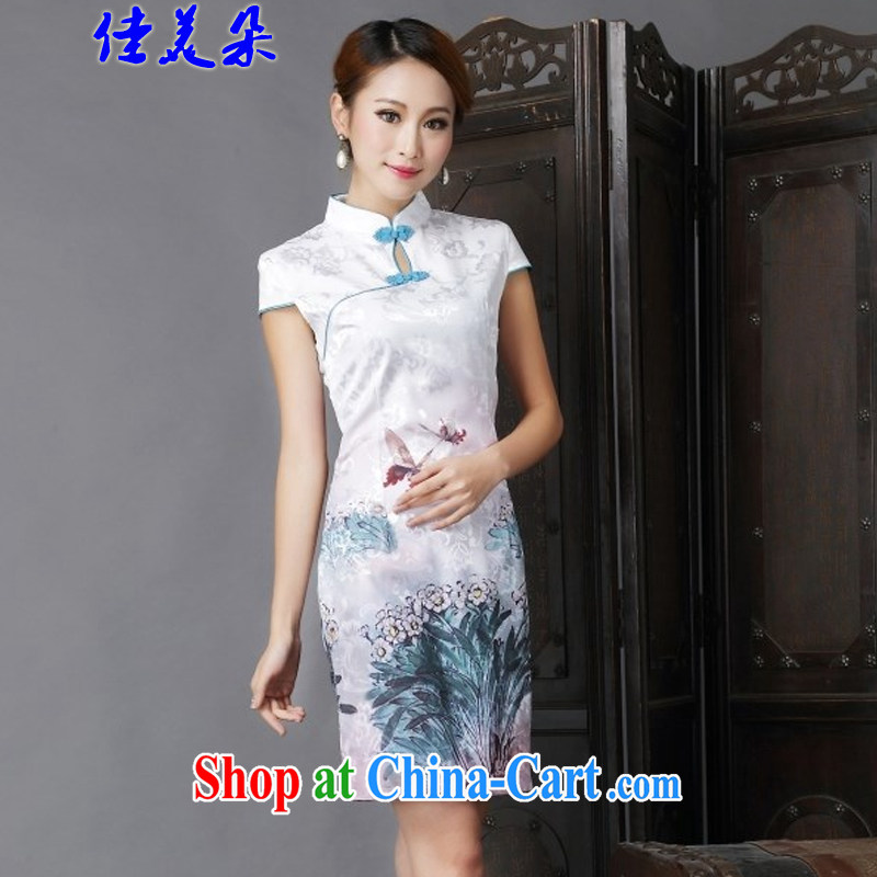 Good flower 2015 National wind New Tang with stylish and improved Daily Beauty sexy cheongsam dress 6632 _light green XL