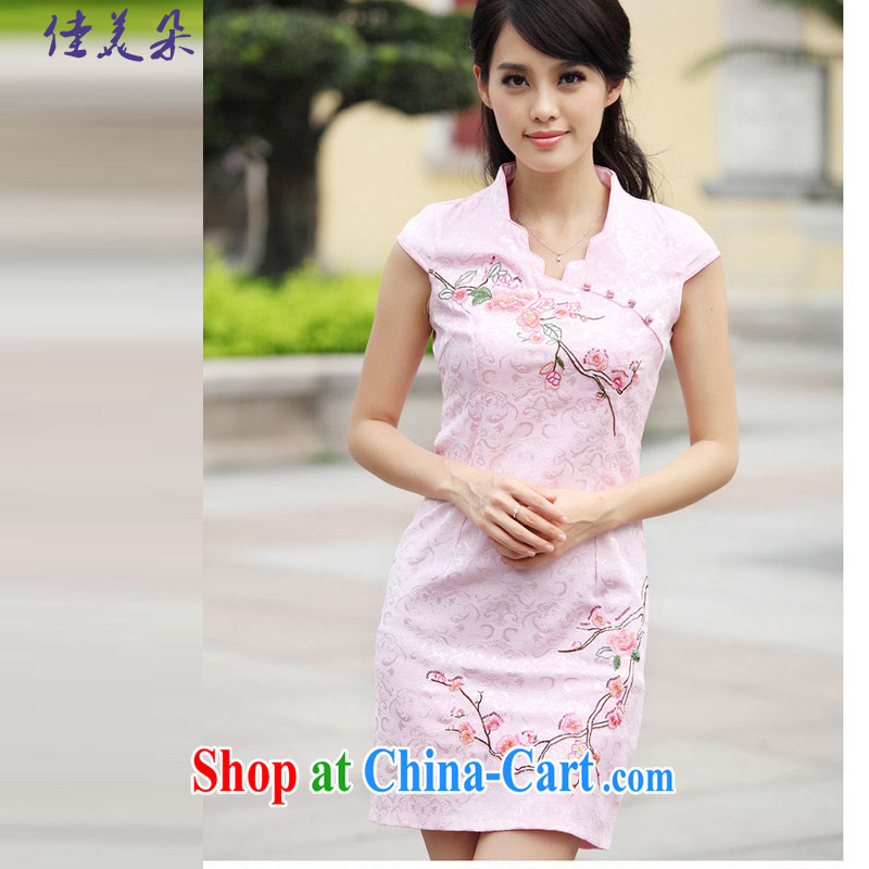 Good flower cheongsam dress summer summer new stylish short retro stamp beauty dresses, 6901 _pink XL