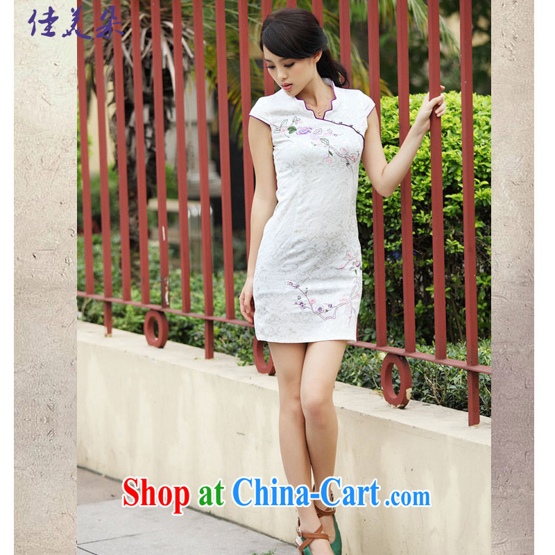 Good flower cheongsam dress summer summer new stylish short retro stamp beauty dresses, 6901 #pink XL, good and flower (JIA MEI DUO), online shopping
