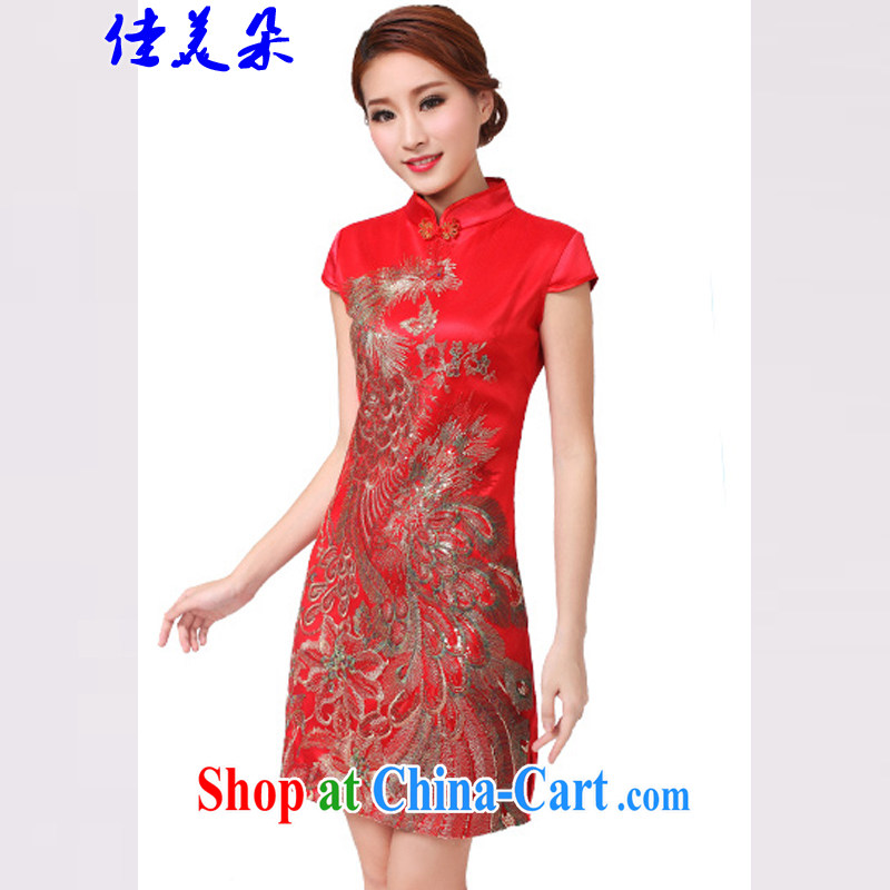 Good flower 2015 bridal dresses serving toast wedding dress retro improved annual fashion dress Short _6608 red XL