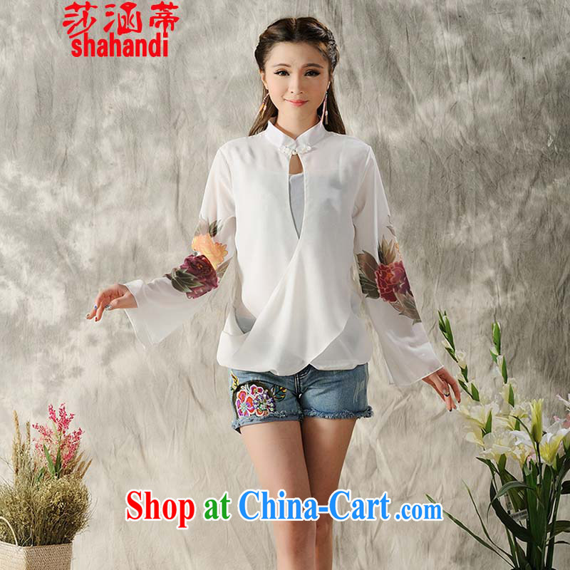 She's covered by summer 2015 women with ethnic style in a new, hand-painted long-sleeved cheongsam dress shirt Tang replace spring Chinese female white XL