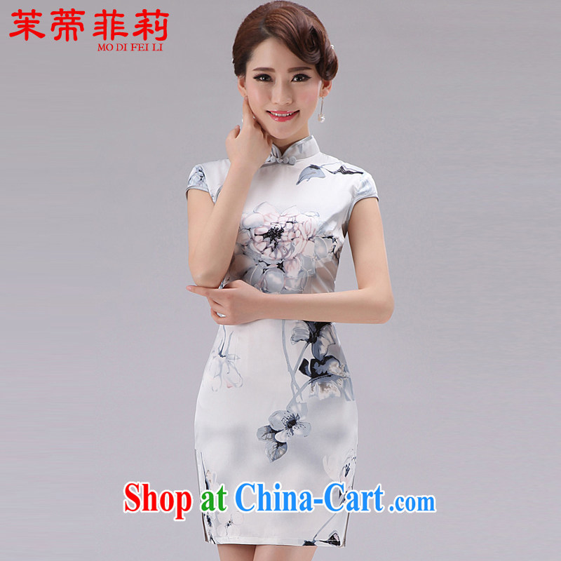 Energy Mr. Philip Li Silk Cheongsam dress summer elegant ethnic wind antique stamp duty cultivating female dresses silver XXL