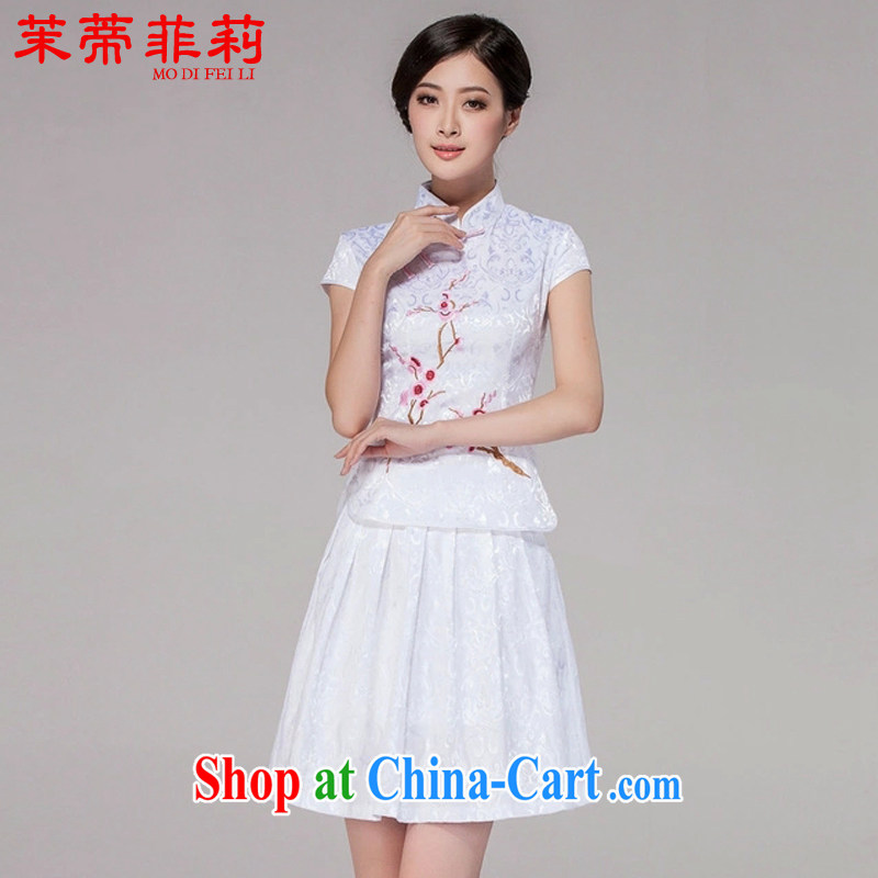 Energy Mr. Philip Li 2015 summer new king sprinkler service women retro cheongsam embroidered dresses Package white XXL