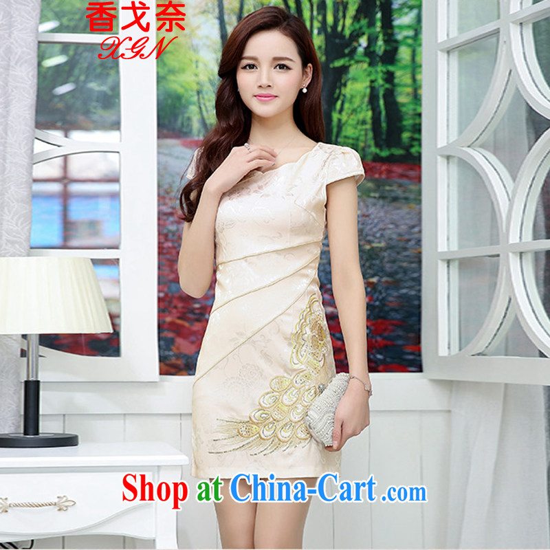 The Scent of Summer 2015 New National wind Chinese stamp retro beauty style graphics thin short-sleeve package and cheongsam dress girls white and yellow XXL