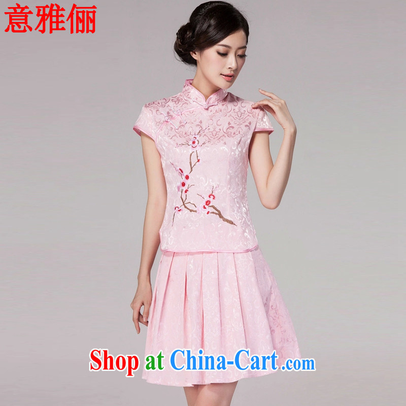 Jacob and facilitate summer 2015 new female Chinese qipao day dresses high-end retro style two-part kit L 689 pink XXL