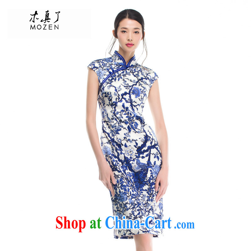 Wood really improved cheongsam dress 2015 summer Silk Cheongsam dress sauna silk antique dresses beauty 53,326 10 blue M