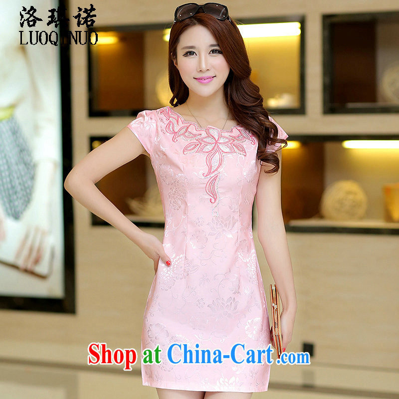 His angel, summer 2015 new small dress bridesmaid skirts Stylish retro improved cheongsam package and cultivating graphics thin short-sleeve embroidery dresses pink XL