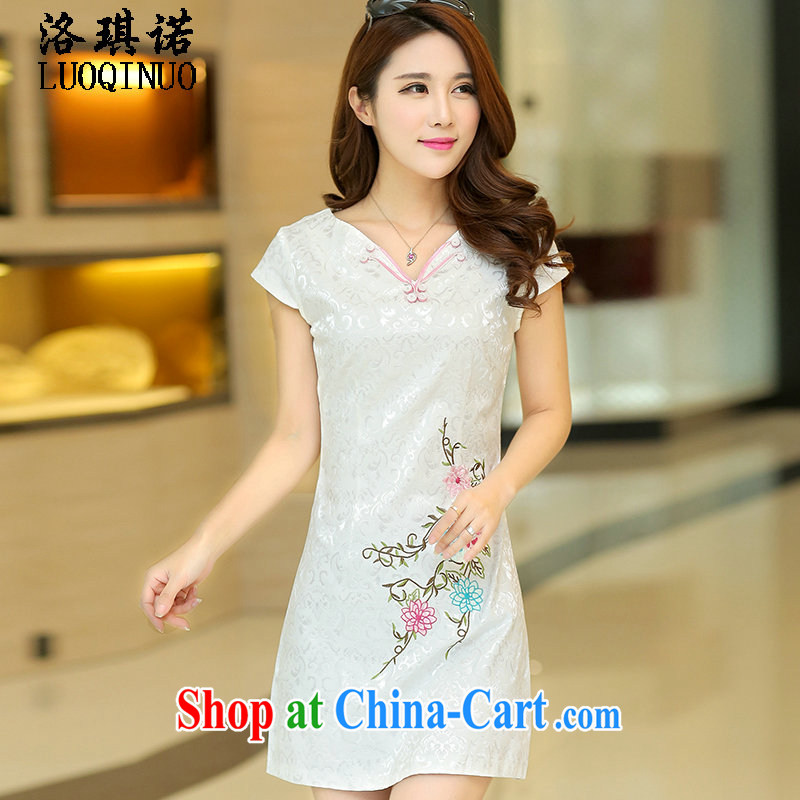 His angel, summer 2015 new summer short-sleeved V collar dresses white ethnic wind embroidered beauty short skirt jacquard fashion improved cheongsam white XL