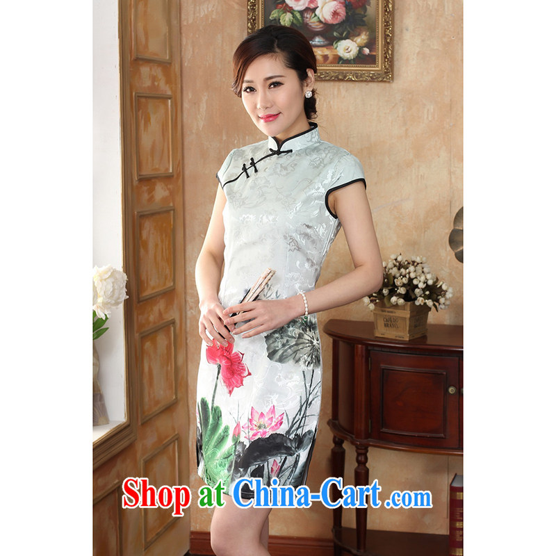 100 brigade Bailv female new digital positioning ethnic wind painting beauty antique dresses B F 1 1028 #0235, white lotus white lotus 2 XL
