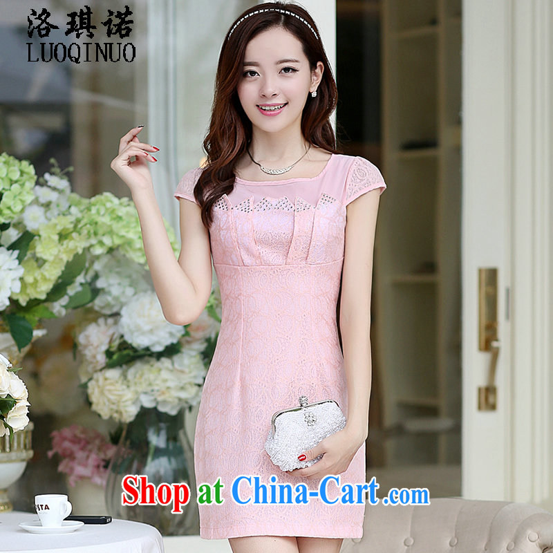 His angel, summer 2015 new summer Solid Color beauty short-sleeved short skirts nets sweet round-collar package and lace style women dresses pink XXL