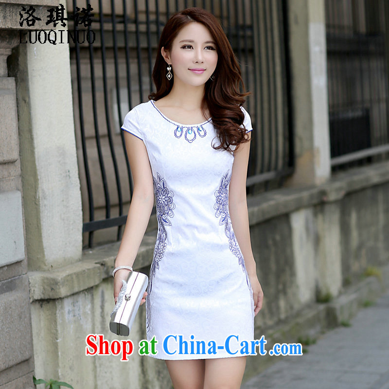 His angel, summer 2015 the new Chinese improved a shoulder short sleeves cheongsam dress, short elegance high waist embroidered beauty graphics thin package and dress blue XL
