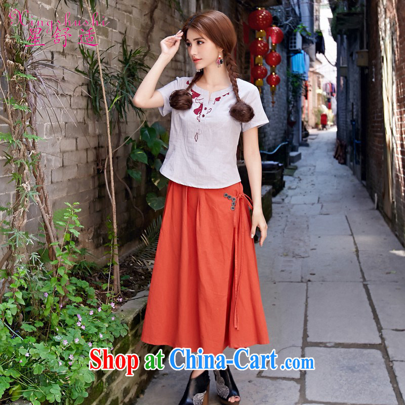 * comfortable 2015 literary and artistic body linen long skirt 100 hem skirt spring and summer new body skirt A Field skirt dress orange are code