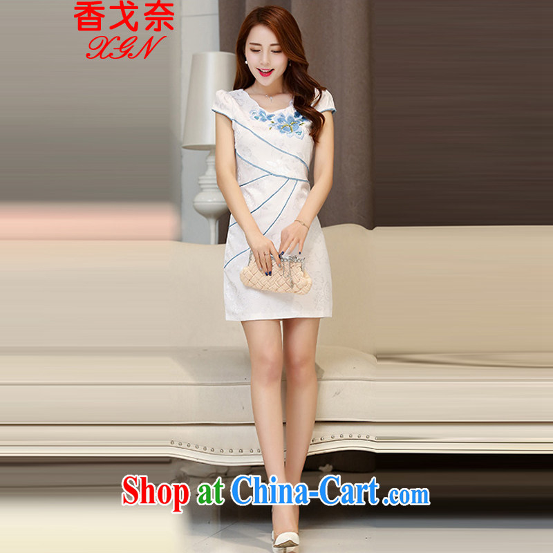 The beautiful valley 2015 spring and summer New Beauty stamp elegant Chinese style cheongsam dress summer dresses female Hester Prynne M