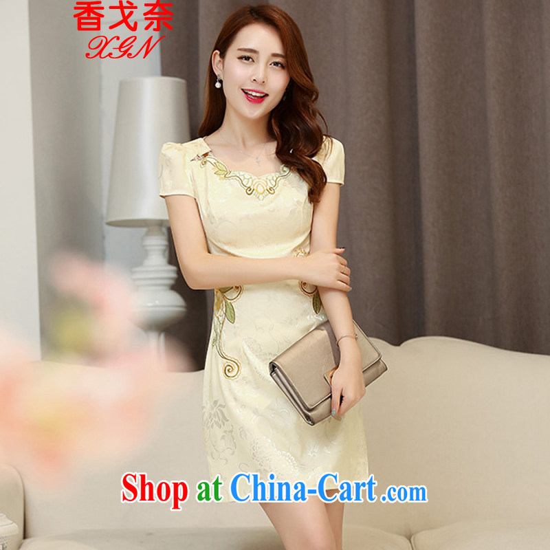 The beautiful valley 2015 summer Korean beauty and stylish cotton short-sleeved retro Chinese qipao, long dresses apricot L