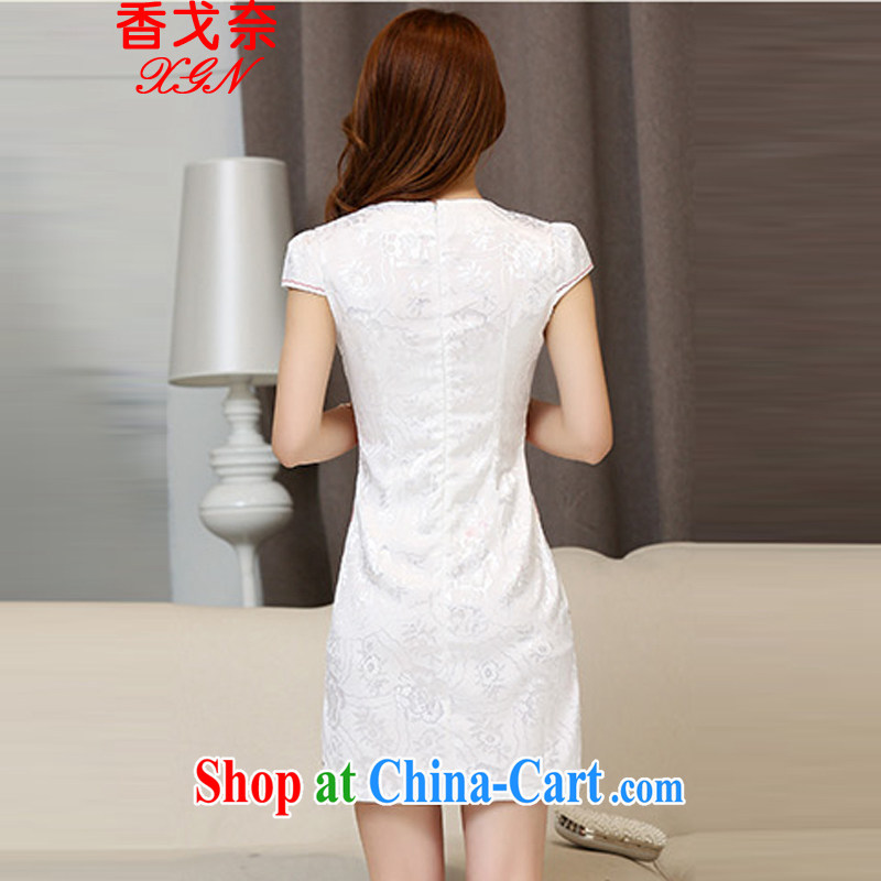 The beautiful valley daily cheongsam dress short women 2015 summer new, improved and stylish the waist bows clothing beauty dresses skirt and white red M, Cayman, Lai Valley, shopping on the Internet