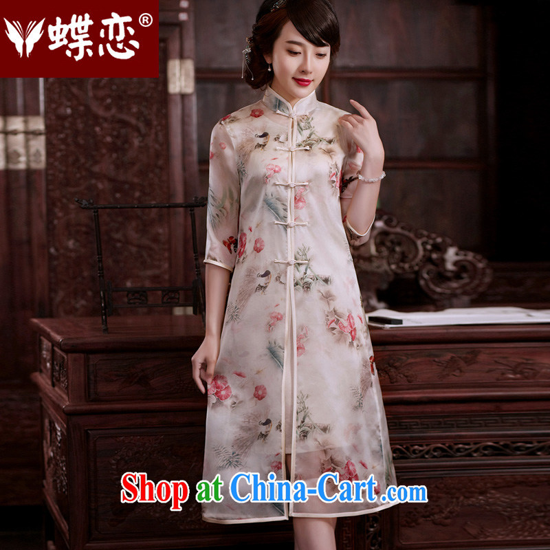 Butterfly Lovers flowers 2015 spring and summer with new upscale silk Chinese Tang fitted T-shirt, two-piece thin coat cream and white XL