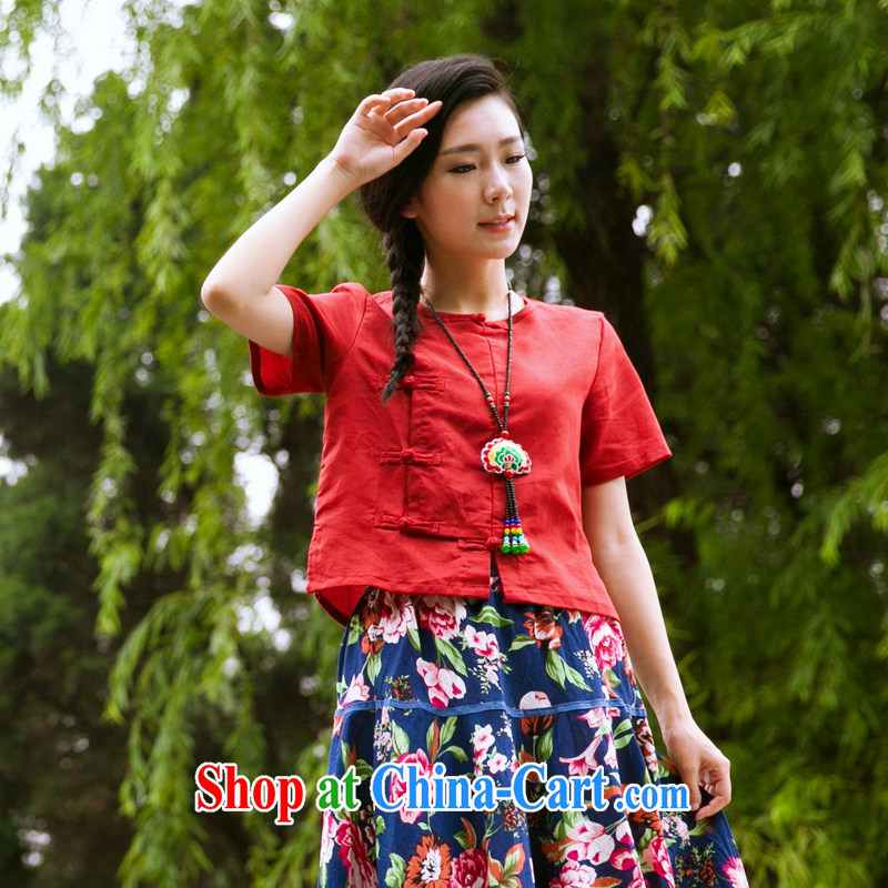 In 2015 Moon Ethnic Wind women's clothing cotton summer the Chinese clothing retro small T-shirt improved Chinese short-tie shirt red are code