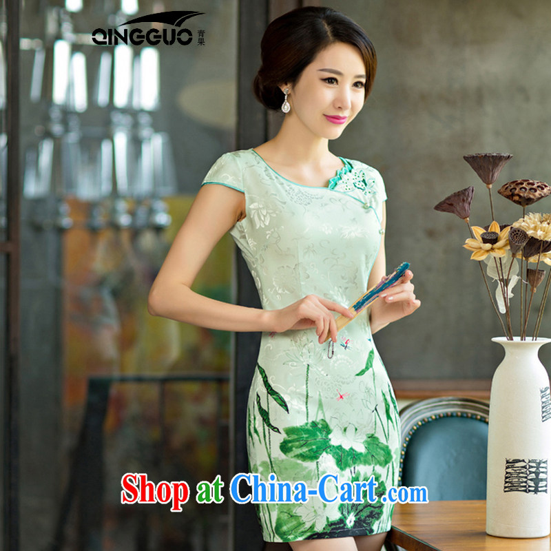 Fruit 2015 summer improved female cheongsam dress retro beauty everyday dresses short dresses, 9004 green XXL