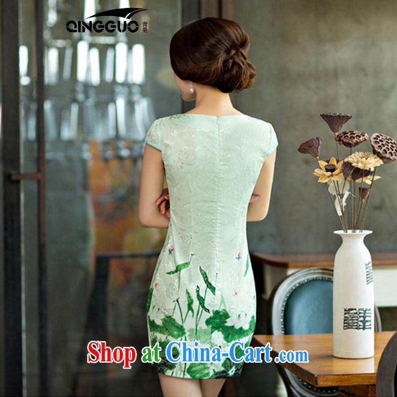 Fruit and Vegetable 2015 summer improved female cheongsam dress retro beauty everyday dresses short dresses, 9004 green XXL, fruit (QINGGUO), shopping on the Internet
