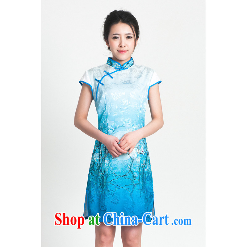 100 brigade Bailv summer new 3D digital stamp national wind Chinese qipao short-sleeved dresses female B F 1 1028 #0239, white blue 2 XL