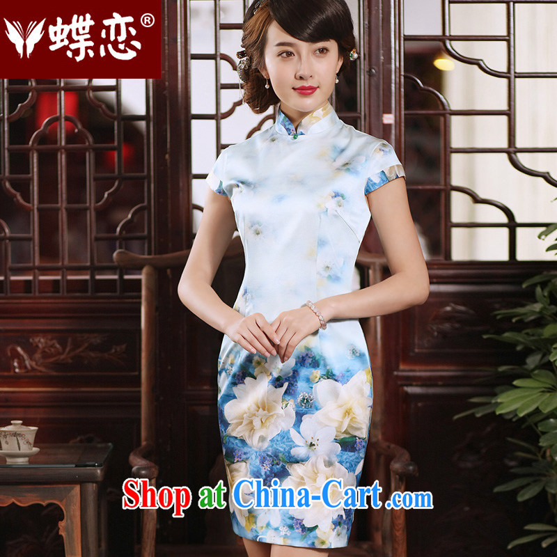 Butterfly Lovers 2015 new dresses cheongsam short summer stylish improved daily short-sleeved Silk Cheongsam 55,277 figure - pre-sale 20 days XXL