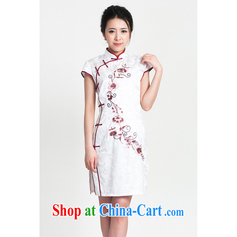100 brigade Bailv cheongsam dress stylish improved summer new retro beauty short dresses B F 1 1028 #0299, white on black 2XL