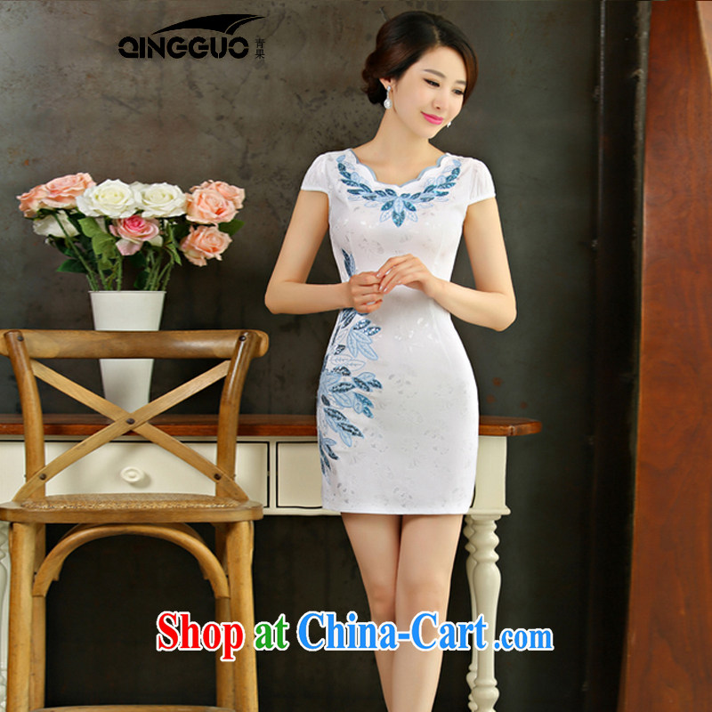 Fruit 2015 summer improved female cheongsam dress retro beauty everyday dresses, short dress 9001 white XXL