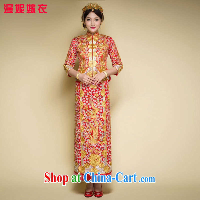 man she married Yi 2015 new large 5 well Phoenix and Chinese wedding dress and bridal wedding toast clothing spring and summer retro dress Soo Wo service embroidery red 4 XL