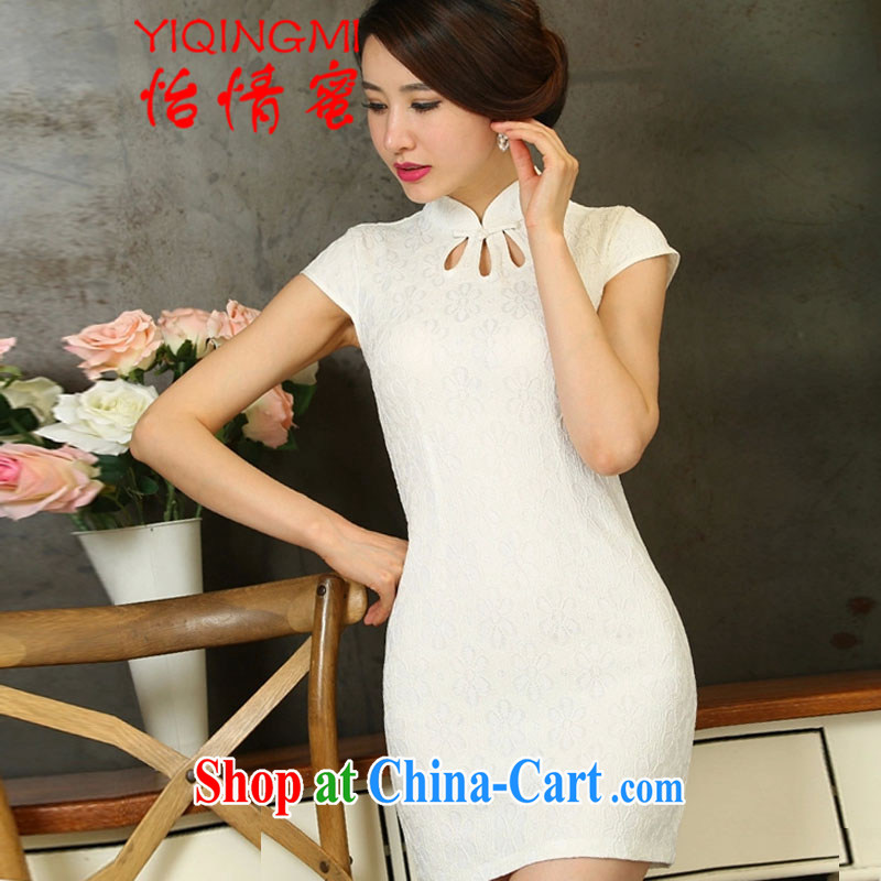 and honey 2015 new lace cheongsam dress daily short video thin beauty dresses white S