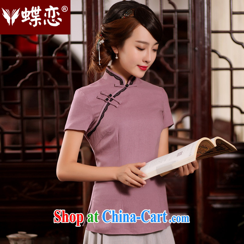 Butterfly Lovers 2015 summer new Ethnic Wind improved cheongsam shirt Han-Chinese wind cotton Ms. Yau Ma Tei Tong with elegant Purple - pre-sale 15 days XXL