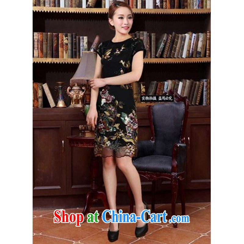 The Greek Diana, 2015 new dresses Ethnic Wind embroidery fancy European root yarn Silk Dresses black XXXL