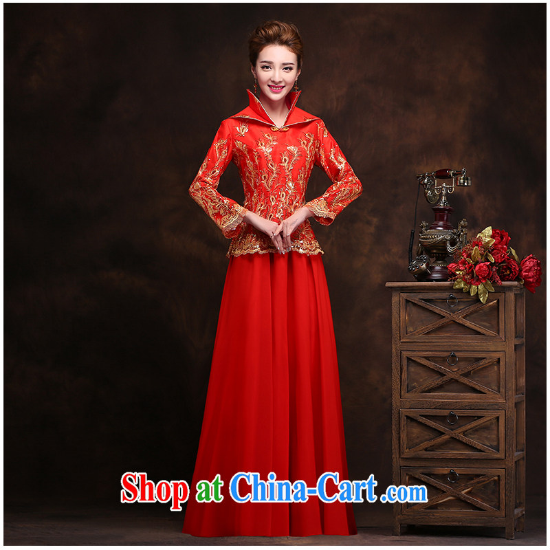 2015 new Lace Embroidery red cheongsam stylish everyday invisible zipper video thin large code cultivating long-sleeved robes, beautiful heydays Home Direct