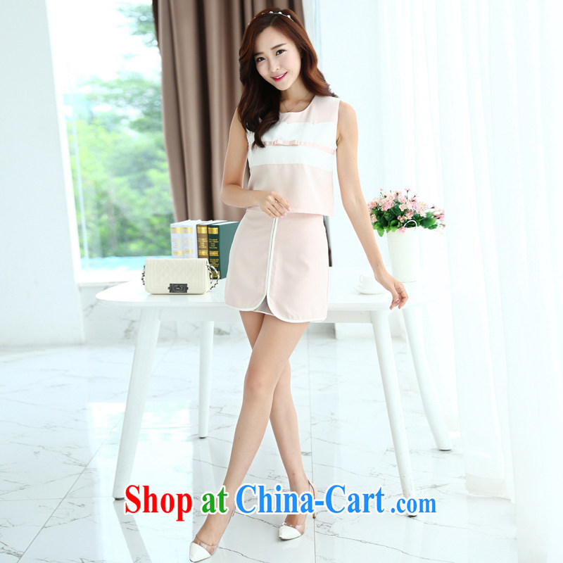 2015 summer style round-collar stitching Openwork beauty graphics thin two-piece dresses black XL