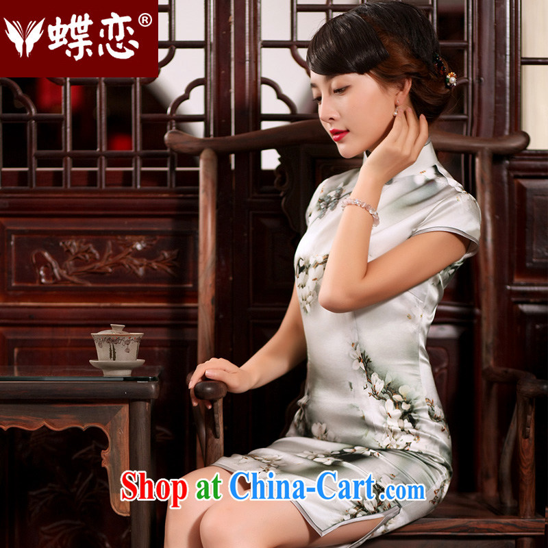 Butterfly Lovers 2015 summer new, Retro dresses high quality silk stylish improved short-day cheongsam dress in figure - pre-sale 7 days XXL