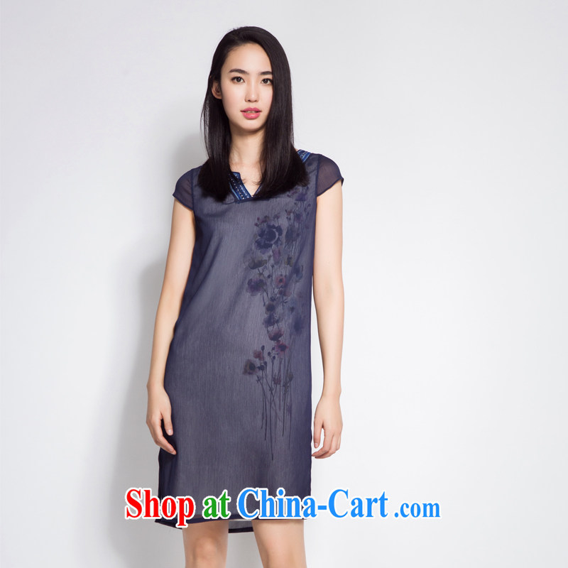 Diane Ying 2015 new summer original design double snow woven fluoro fabric stamp Chinese improved cheongsam dress PAE 2136 Tibetan blue L
