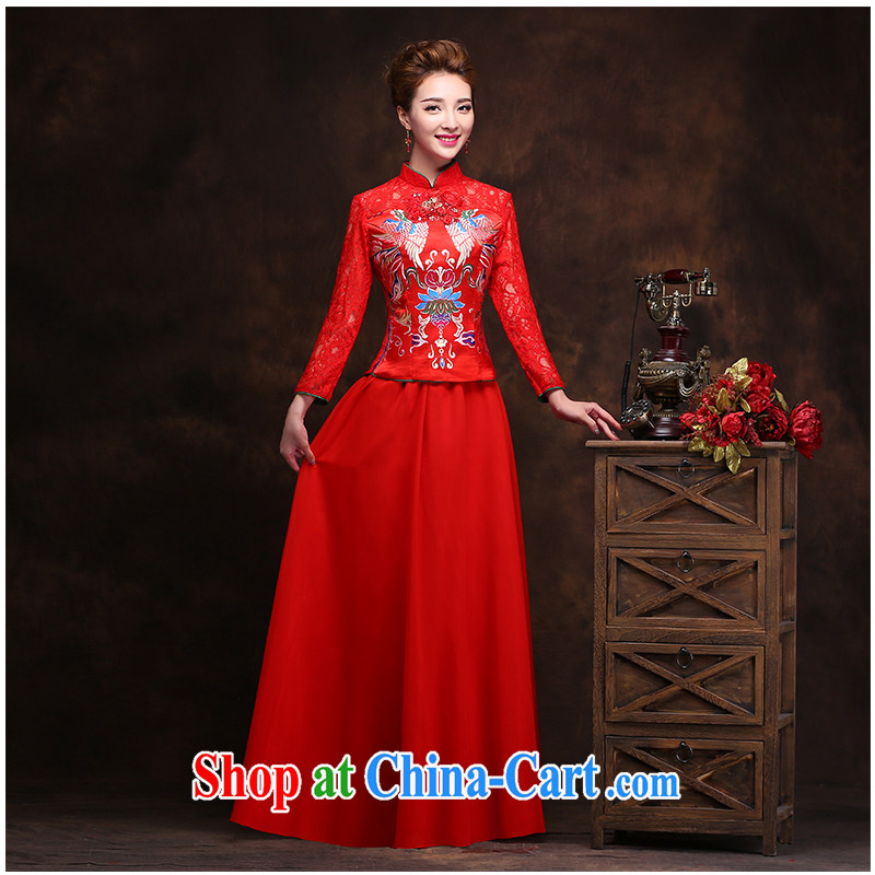 The beautiful yarn cultivating cheongsam embroidery lace new beautiful stylish graphics thin beauty invisible zipper Summer and Autumn Chinese red cheongsam factory direct