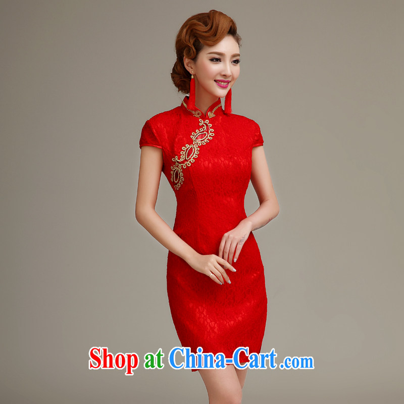 2015 spring and summer new marriages served toast crowsfoot Chinese Antique wedding dresses red short cheongsam red to make the _30 does not return