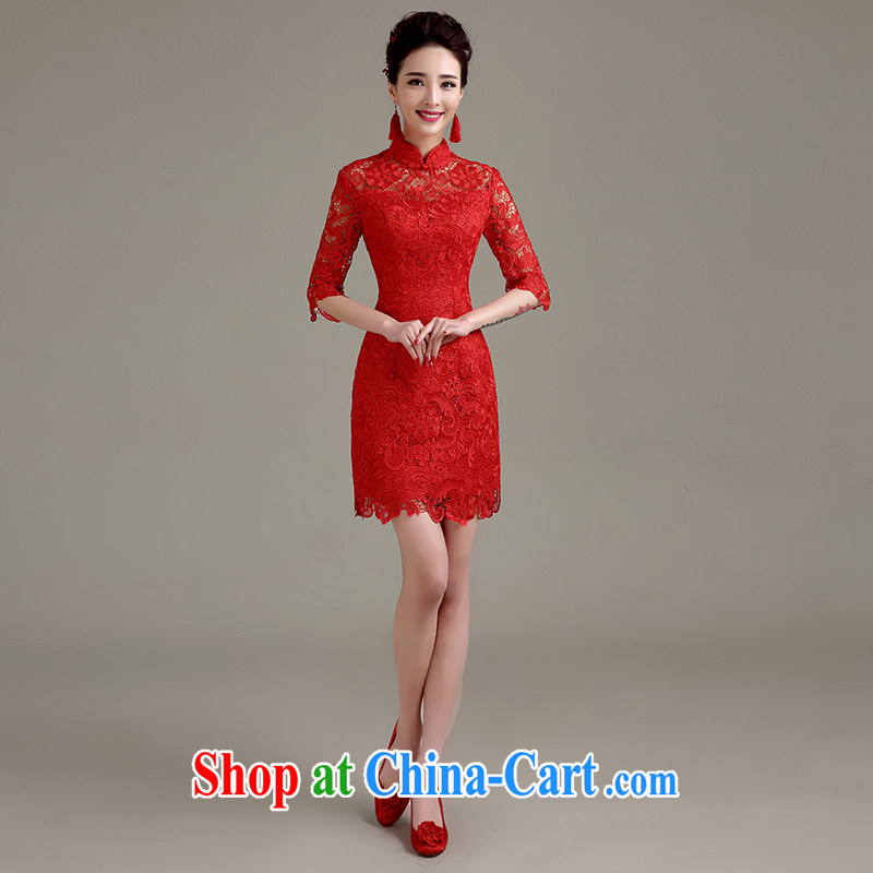 Yi love still bridal wedding dress toast clothing cheongsam dress new spring 2015, red stylish lace beauty retro improved red to make the $30 does not return