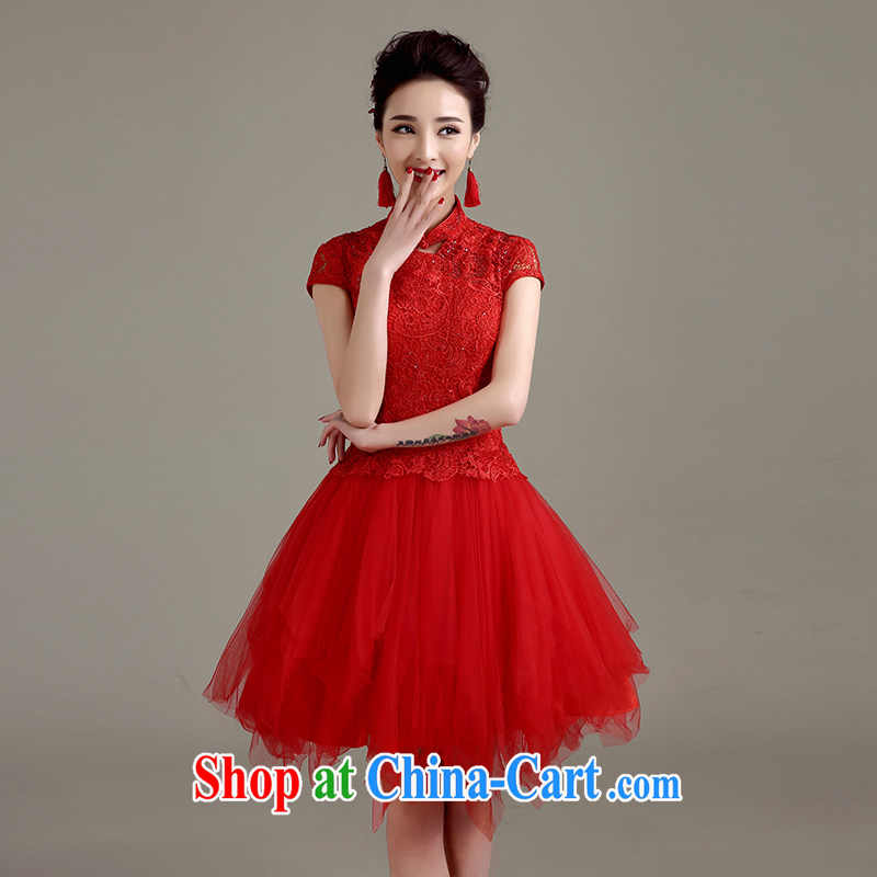 Yi love is still bridal wedding dress qipao toast clothing cheongsam dress summer new 2015 red stylish lace beauty retro improved cheongsam female Red to make the _30 does not return