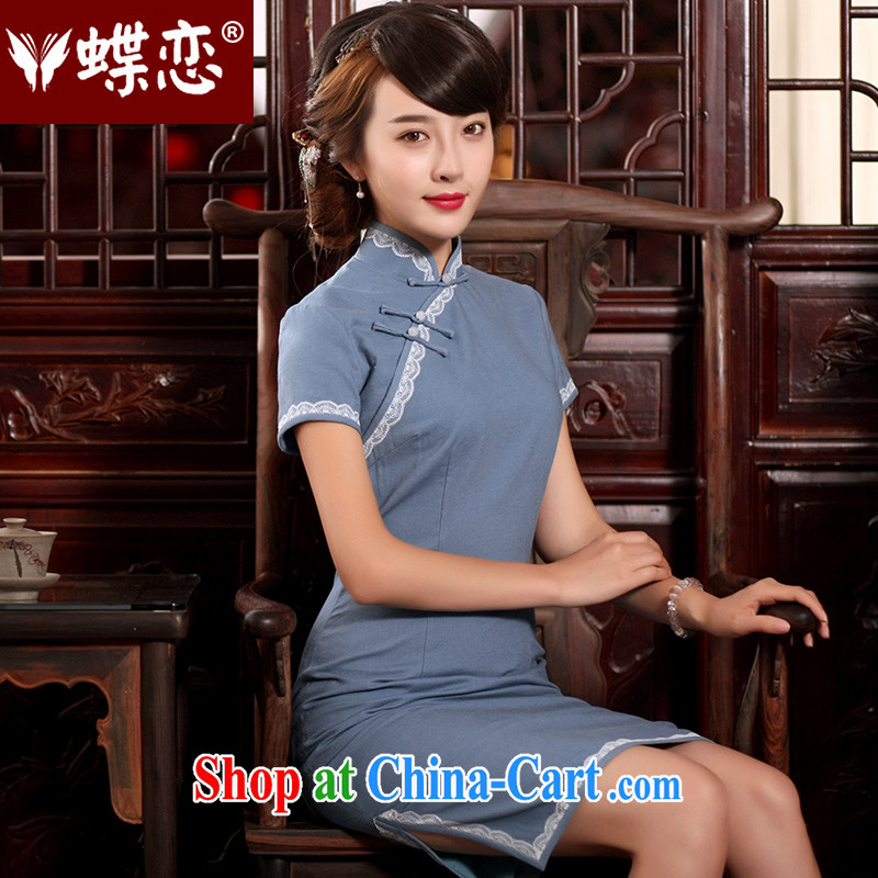 Butterfly Lovers 2015 summer new antique Chinese cheongsam dress improved stylish daily cultivating cotton the cheongsam as shown - pre-sale 15 days M