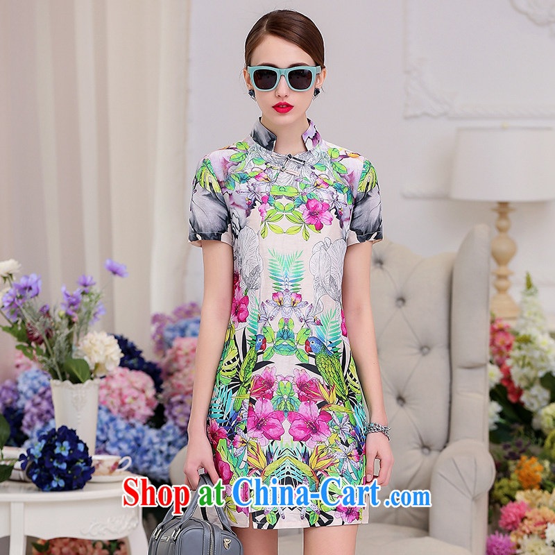 Jun 2015 Golden Harvest summer New Silk Dresses the dresses European site retro improved version cheongsam dress suits women XL