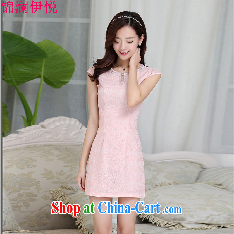 kam world the Hyatt 2015 summer Women's clothes are new beauty video thin temperament sweet Korean dresses pink M