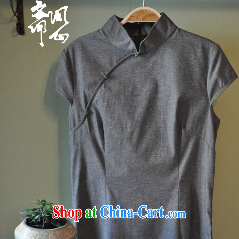 Q- Shinsaibashi Hyatt Regency elections as soon as possible and girls summer new Chinese net of the collar T-shirt cotton the cheongsam shirt in 2002 gray M