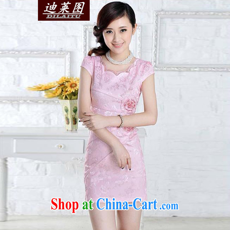 At the 2015 summer new dresses and improved stylish embroidered clothes video waist dresses summer dresses dresses pink XL
