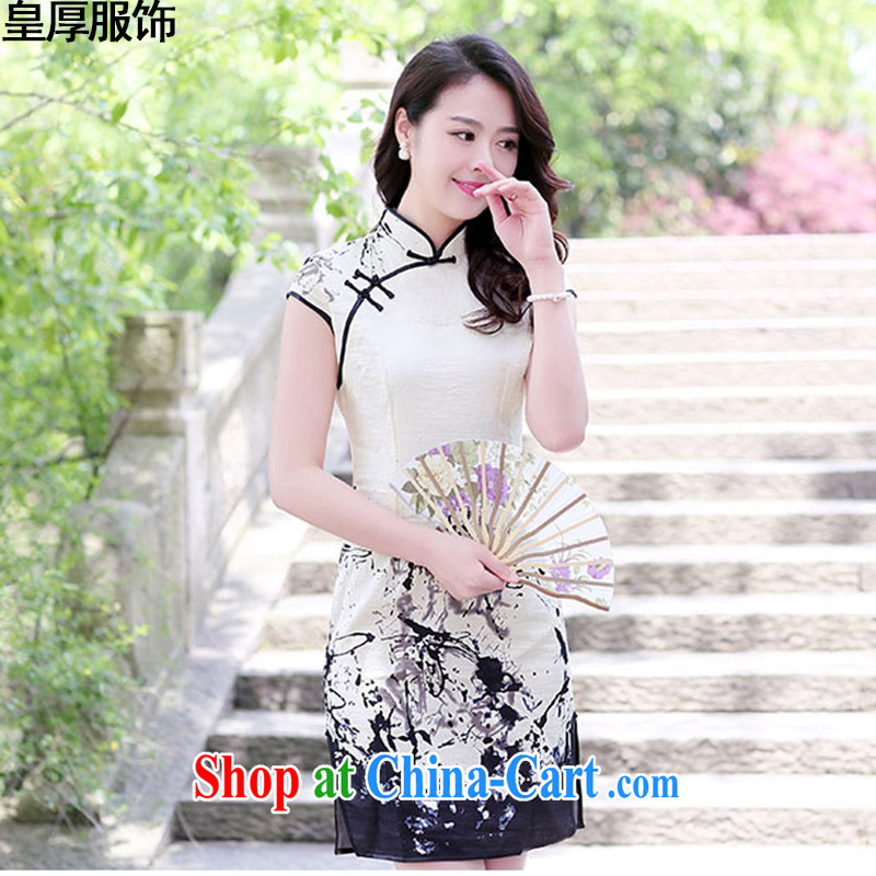 Not thick clothes 2015 new summer lady stylish beauty improved short-sleeve cheongsam dress ink spend XXL